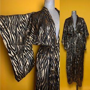 Fuzzy Tiger Semi Sheer Bell Sleeve Kimono Robe